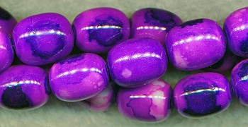 Purple Multicolored Fancy Olive Glass Beads, 16x12mm