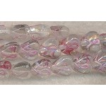 Lampworked Beads, Ribbon Beads, Heart Beads with Pink Awareness Ribbon, Strand