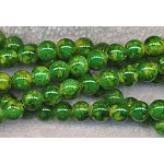 8mm Round Glass Beads, Mottled Green