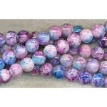 8mm Round Glass Beads, Mottled Pastels
