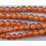 8mm Round Glass Beads, Mottled Orange Coral