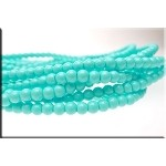 4mm Glass Pearl Round Bead Strand, LIGHT TURQUOISE