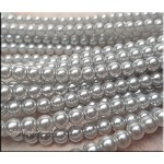6mm Glass Pearls, GREY SILVER Glass Pearls