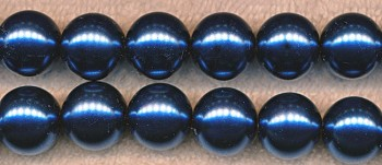 Glass Pearls, SAPPHIRE 8mm Glass Pearl Beads Strand