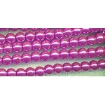 6mm Glass Pearl Round Bead Strand, LAVENDER PINK
