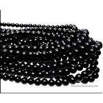 10mm Glass Pearl Round Bead Strand, JET BLACK