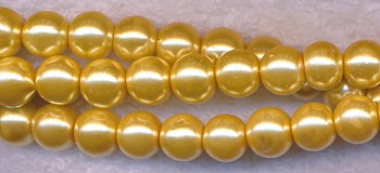 4mm Glass Pearls, GOLDEN MUSTARD YELLOW Glass Pearls