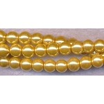 4mm Glass Pearl Round Bead Strand, GOLDEN MUSTARD YELLOW