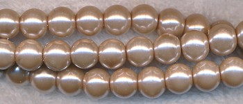 6mm Glass Pearl Round Bead Strand, SILVER SABLE