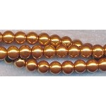 8mm Glass Pearl Round Bead Strand, ANTIQUE GOLD