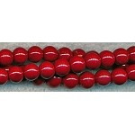 Blood Red Glass Pearls, 8mm Glass Pearl Beads