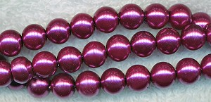 8mm Glass Pearl Round Bead Strand, MAUVE PURPLE