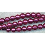 6mm Glass Pearl Round Bead Strand, MAUVE PURPLE