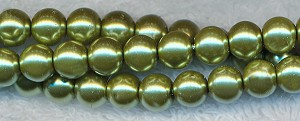 8mm Glass Pearl Round Bead Strand, GOLDEN OLIVE MINT GREEN