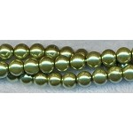 4mm Glass Pearl Round Bead Strand, GOLDEN OLIVE MINT GREEN