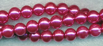 4mm Glass Pearls, FUCHSIA MAUVE Glass Pearls