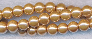 6mm Glass Pearls, GOLDEN TAUPE Glass Pearls