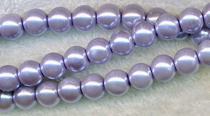 8mm Glass Pearl Round Bead Strand, LIGHT LAVENDER PURPLE