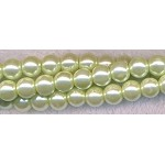 6mm Glass Pearl Round Bead Strand, LIGHT LIME GREEN