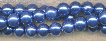 8mm Glass Pearls, SILVER BLUE Glass Pearls