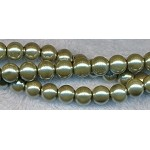 8mm Glass Pearl Round Bead Strand, GOLDEN PYRITE