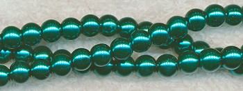 6mm Glass Pearl Round Bead Strand, GREEN TEAL
