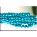 6mm Glass Pearl Round Bead Strand, PEACOCK BLUE AQUAMARINE