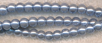 6mm Glass Pearls, SILVER BLUE Glass Pearls