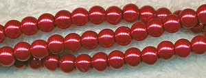 6mm Glass Pearl Round Bead Strand, RED