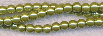 6mm Glass Pearls, LIGHT OLIVE GREEN Glass Pearls