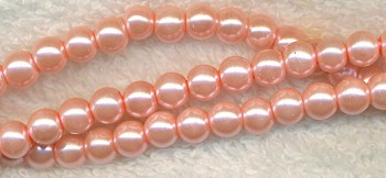 6mm Glass Pearls, CAMEO PINK Glass Pearls