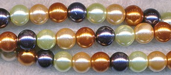 6mm Glass Pearls, GOLDEN CREAM Mix Glass Pearls