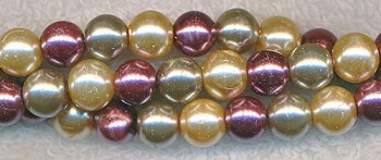 8mm Glass Pearls, DESIGNER MIX champagne silver plum