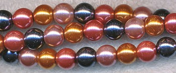 8mm Glass Pearls, DESIGNER MIX rose hematite dusty rose copper