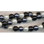 6mm Glass Pearl Round Bead Strand, WHITE BLACK GUNMETAL MIX