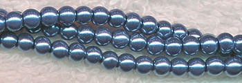 4mm Glass Pearls, BLUE PEWTER Glass Pearls
