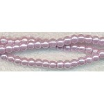 4mm Glass Pearl Round Bead Strand, LIGHT PURPLE