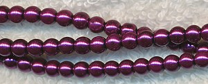 Royal Plum Purple Glass Pearls, 4mm Glass Pearl Beads