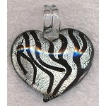 Murano Style Glass Pendant, Heart Zebra Print Focal, Silver and Black