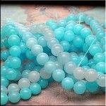 10mm Round Shades of Blue Jade Beads Strand