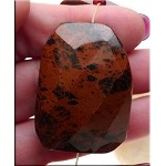 Mahogany Jasper Beads, Large Faceted Gemstone Focal Pendants (1)