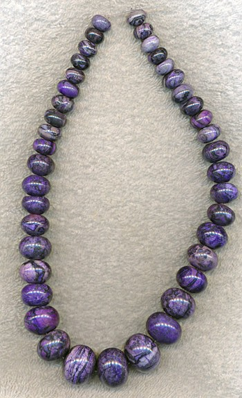 Purple Sugilite Jasper Beads, Graduated Rondelle Necklace Beads, 10-20mm Strand