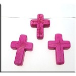 Pink Turquoise Magnesite Gemstone Cross Pendant Bead, 25x18mm