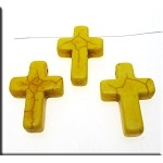 Yellow Turquoise Magnesite Gemtone Cross Pendant Bead, 25x18mm