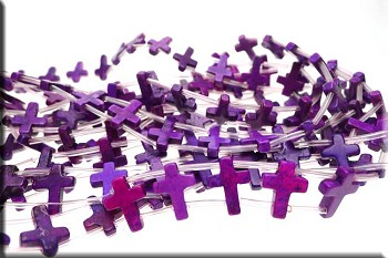 Cross Beads, Purple 12x16mm Double-Drilled Magnesite