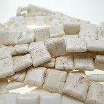 White Turquoise Magnesite Beads 14mm Square Tile Beads Strand