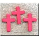 Magnesite Cross Pendant, Pink Gemstone Cross Bead Pendants, 22x30mm (1)