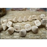 Stone 2-Hole Spike Beads, White