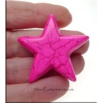 Stone Star Beads, Hot Pink 38mm