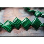 16mm Overlapping Diamond Synthetic Malachite Beads, Strand